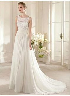 Gorgeous Chiffon & Lace & Satin A-line Illusion Bateau Neckline Raised Waistline Wedding Dress