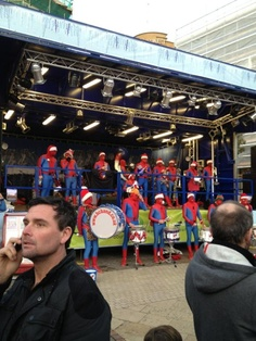 Spiderman brass band playing Christmas carols in Bournemouth!!