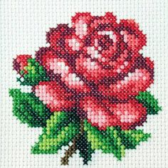 Clay Mosaic - Rose made from cross stitch pattern: Hi, I love doing clay crafts. Small Cross Stitch, Cross Stitch Rose, Cross Stitch Borders, Cross Stitch Flowers, Cross Stitch Designs, Cross Stitching, Cross Stitch Embroidery, Embroidery Patterns, Cross Stitch Patterns