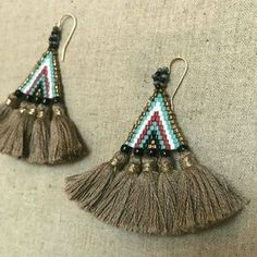 """I just discovered this while shopping on Poshmark: Handmade Boho Style Earings. Check it out! Price: $65 Size: 2,5"""" x 2""""5, listed by vass8"""