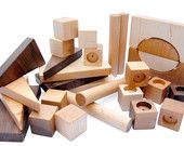 Building Blocks, Wooden Toy, Montessori Wood Blocks, 32 shapes for Stacking and Building