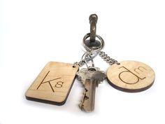 Custom Initials Keychain Laser Cut Wood Keychain by HavokDesigns