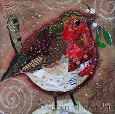 D's note - Her work is beautiful. She is a torn paper artist. Christmas Collage, Christmas Mix, Christmas Crafts, Altered Art Christmas, Painted Christmas Cards, Mixed Media Canvas, Mixed Media Collage, Mixed Media Artists, Paper Collage Art