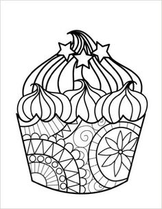 92 Best Cupcakes + Cakes Coloring Pages for Adults images