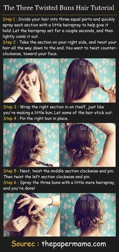 The Three Twisted Buns Hair Tutorial | Beauty Tutorials
