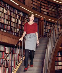i like the red heels from this swedish librarians fashion spread (with real live librarians)