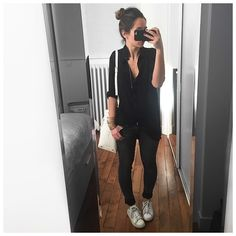 "Ootd #latergram • Shirt #raiineraiine (on @cyrielleforkure & @raiineraiine) • Belt #ericbompard (on @ericbompard) • Jean #cheapmonday ""GG"" • Bag #goldenlane (on @goldenlane) • Shoes #stansmith • Bracelet #cecilepic (on @shopinsidecloset) ..."