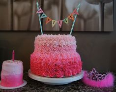 Pink ombre birthday cake