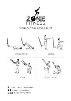 WORKOUT TRX IMPRIMABLE Faites brûler les muscles de vos jambes et fessiers avec ce workout très intense à l'aide d'un TRX ! Si vous ne connaissez pas le TRX, découvrez cet accessoire sur Zone Fitness : http://zone-fitness.fr/trx-accessoire-fitness-muscu/