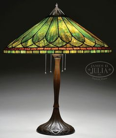 HANDEL LEADED TABLE LAMP.  Green is my favorite color, therefore, I love this lamp.