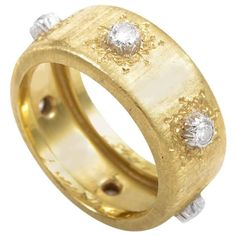 Buccellati Diamond Two Color Gold Band Ring | From a unique collection of vintage band rings at https://www.1stdibs.com/jewelry/rings/band-rings/