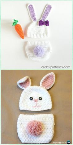 Crochet Baby Bunny Hat Diaper Set Free Pattern - Crochet Baby Easter Gifts Free Patterns