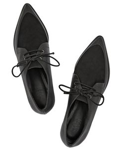 Tibi - Kern Nubuck and Leather Point-Toe Brogues Oxford Brogues, Leather Brogues, Leather Shoes, Oxford Shoes, Wingtip Shoes, Pointy Toe Flats, Toe Shoes, Flat Shoes, All About Shoes