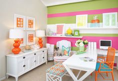 The Pink Pagoda: Bravado Design Office Space and Randomness. Love colors for my daughter's room!