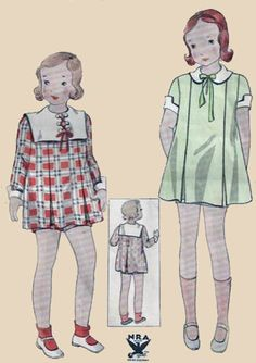 1930s Girls Dress and Panties Simplicity 1360 Vintage 30s Sewing Pattern Size 8 by sandritocat on Etsy