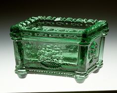 Salt Maker: Jersey Glass Company of George Dummer Date: Geography: Mid-Atlantic, Jersey City, New Jersey, United States Culture: American Medium: Pressed glass All Things Crystal, Laurel, Vintage Dishes, Vintage Kitchen, Salt Box, Antique Glassware, Pretty Box, Glass Boxes, Glass Company