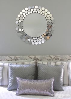 Modern Master Bedroom with Madison Park Quilted Metallic Faux Leather Throw Pillow, Ren-Wil Andromeda Mirror
