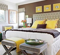 Yellow and Gray Bedroom Decorating Idea. Yellow and Gray Bedroom Decorating Idea. Gray and Yellow Bedroom Ideas Yellow Gray Bedroom, Bedroom Colors, Gray Yellow, Yellow Accents, Yellow Bedrooms, Lemon Yellow, Small Bedrooms, Brown Bedrooms, Master Bedrooms