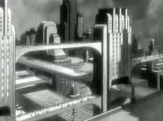 """Automobile Aerodynamics """"Streamlines"""" 1936 General Motors - Vintage film explaining the science behind streamlining modern cars. I particularly like the little animation of cars of the future zooming along roads in a Metropolis-like city Future Vision, Future City, Gotham News, The Door Is Open, Retro Futuristic, Science Fiction Art, Moving House, Cthulhu, Dieselpunk"""