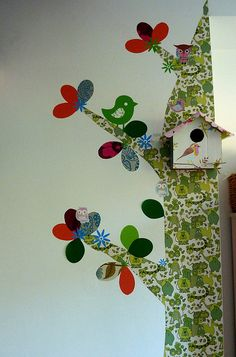 Tree decal made from old wallpaper - especially love the birdhouse!