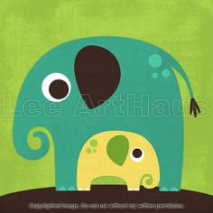 130B Bright Elephant with Baby 6x6 Print