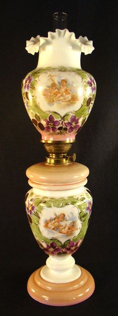 #Victorian #Opalene Kerosene Banquet Lamp with Winged Cupids