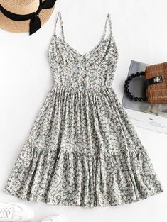 Smocked Back Tiny Floral Cami Dress - In Fashion Hub Sun Dress Casual, Casual Summer Dresses, Sexy Dresses, Cute Dresses, Mini Dresses, Dress Summer, Ball Dresses, Summer Outfits, Looks Hippie