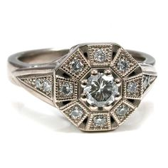 Art Deco Diamond and Palladium White Gold Antique Geometric Octagon Engagement Halo Ring My brother, Grayam, designed this ring will all Hexagon Engagement Ring, Deco Engagement Ring, Lesbian Wedding Rings, Wedding Bands, Art Deco Diamond, Halo Rings, Ring Verlobung, Or Rose, White Gold
