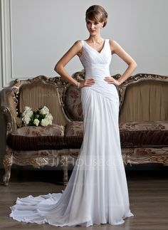 Wedding+Dresses+-+$174.99+-+A-Line/Princess+V-neck+Chapel+Train+Chiffon+Wedding+Dress+With+Ruffle+(002011736)+http://jjshouse.com/A-Line-Princess-V-Neck-Chapel-Train-Chiffon-Wedding-Dress-With-Ruffle-002011736-g11736