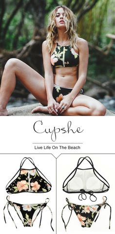 Live life on the beach~ We wanna get stuck in the middle with this baby, so sweet and soft. Throw on over your swimsuit for a day in the sun, that's all your own! Try this high-quality floral bikini set and you'll want it all the time. Cupshe.com will give you a gorgeous look!
