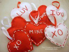 No Sew Felt Valentine's Day Ornaments