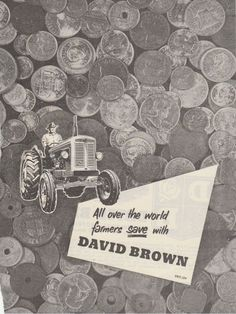 Vintage 1960 DAVID BROWN TRACTORS Advertisement DOUBLE SIDED Pre-Decimal Coins #DavidBrown #Advertisement