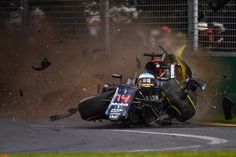 GP Australia Melbourne 2016. Fernando Alonso becoming a passenger of his own car just after hitting Esteban Gutierrez from the Haas F1 team.