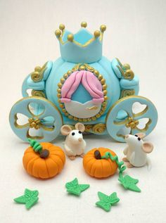 Cinderella Princess Birthday cake topper, Carriage, mice and pumpkins edible fondant .