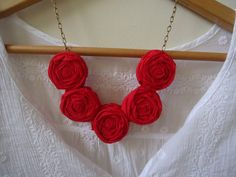 Red RosesFlower Necklace Fabric Rosette by JessieKateDesigns, $25.00