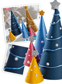 Fabriquer une forêt de sapins en papier pour le décoration de Noël avec les enfants