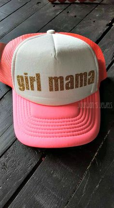 """""""Girl Mama"""" This hat is perfect for all the wonderful moms of girls! What a pleasure it is to be a girl mama! Choose from four different color hats: solid black, black/white, pink/white or red/white hat. There are four different vinyl colors. Mother of Girls, Girl Mom, Girl Momma. Buy yours now at Jourdan's {Handmade} Jewels on Etsy!"""