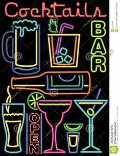 Neon Cocktails/Bar Symbols/ai Stock Vector - Illustration of booze, foamy: 10103999 Graffiti, Cocktail Bar Design, Neon Symbol, Tropical Tattoo, Word Fonts, Neon Aesthetic, Neon Party, Bar Signs, Retro Art