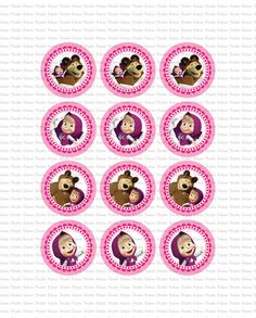 DIGITAL Masha and the Bear toppers PRINT por KabooStudioDigitals