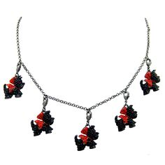 Butler & Wilson Crystal Scottie Dog Multi Charm Necklace - Agnes Scott Scotties