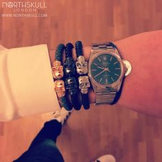 Fan Instagram Pic ! | @Thamitle shows us his Northskull collection with 3 different colorways of our Nappa Leather Twin Skull Bracelets alongside his Rolex Air King Watch. Impressive ! | What's your favourite color ? | Available at Northskull.com | For a chance to get featured post a cool photo of your Northskull jewelry with the tag #Northskullfanpic on Instagram