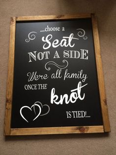 """'Choose A Seat Not A side' Large Wedding Blackboard Approx 31""""x 24"""" COLLECT ONLY in Home, Furniture & DIY, Wedding Supplies, Venue Decorations 