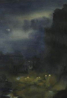 """Quiet Lamps"" by Freddie Davies. freddie-davies.wix.com/artist Nocturne featuring streetlamps."