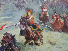 Dutch lancer of the Guarde and Cuirassiers during the French heavy cavalry charge at Waterloo led by Marshal Ney.
