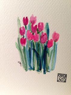 Spring Tulips Card / Hand Painted Watercolor Card by gardenblooms Watercolor Pictures, Watercolor Cards, Watercolor Print, Watercolor Flowers, Art Paintings, Watercolor Paintings, Watercolors, Art Et Illustration, Guache