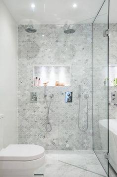 Bathroom with fish scale tiles, oak vanity, Carrara marble bowl, round mirror an… – Marble Bathroom Dreams Condo Bathroom, Small Bathroom, Bathroom Ideas, Bathroom Showers, Bathroom Cabinets, Bad Inspiration, Bathroom Inspiration, Carrara Marble Bathroom, Honed Marble