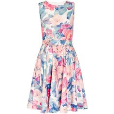 Dorothy Perkins **Quiz Flower Belt Skater Dress ($44) ❤ liked on Polyvore featuring dresses, cream, floral dresses, dorothy perkins, pink flower dress, cream dress and flower pattern dress
