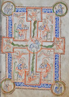Central medaillon with the mystic lamb of God (Agnus Dei) surrounded by the four rivers of the Paradise Book Of Kells, Celtic Art, Celtic Designs, Illuminated Manuscript, Rivers, Astronomy, Omega, Mystic, Lamb