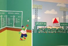 A Fenway Park Mural Fills A Corner with Fun!  by Cheeky Monkey Home www.cheekymonkeyhome.com