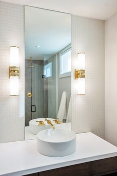 Madison Taylor Design - bathrooms - Kohler Vox Round Vessel Round Above Counter Sink, Kohler Purist Widespread Wall Mount Bathroom Sink Fauc...